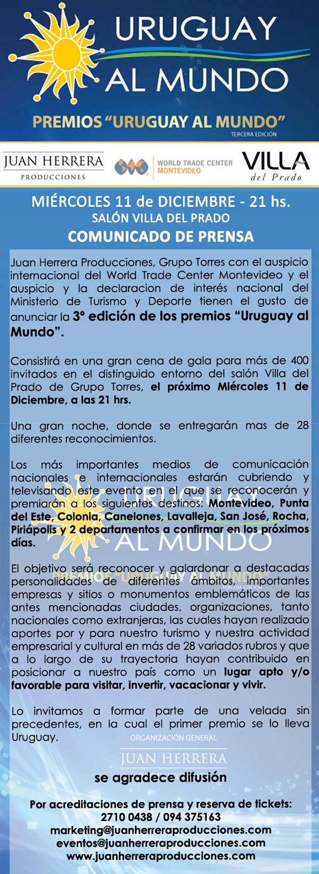 COMUNICADO DE PRENSA PREMIOS URUGUAY AL MUNDO