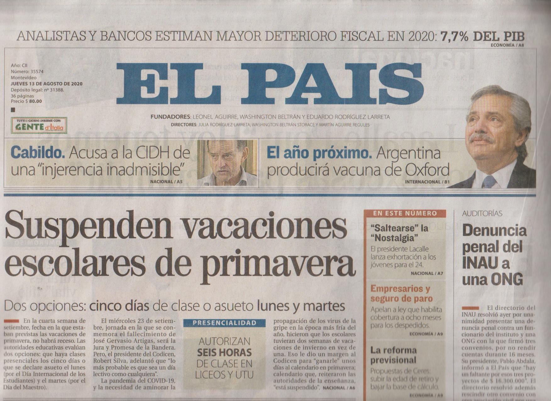 DIARIO EL PAIS 13-8 (PORTADA)