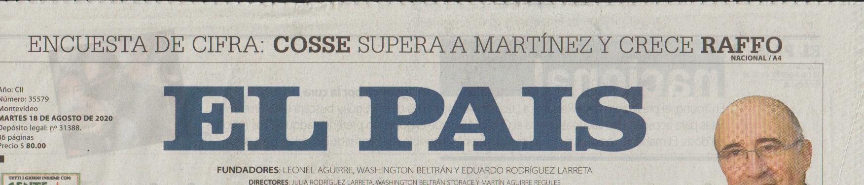 DIARIO EL PAIS 18-8 (PORTADA)