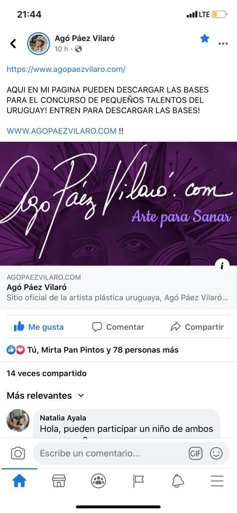 Facebook de Agó Páez Vilaró